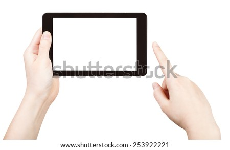 finger clicking tablet pc with cut out screen isolated on white background - stock photo
