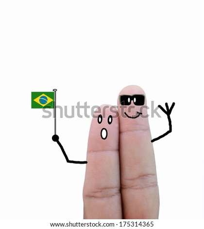 finger concept couple cheer with flag - stock photo