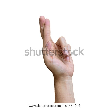 Finger crossed hand conceptual sign isolated on white background