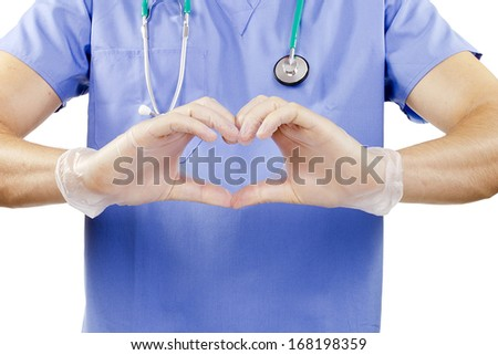 Finger doctor in the form of heart. - stock photo