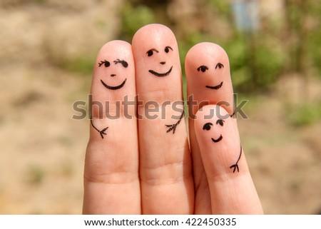 Finger Family. The happy family on vacation - stock photo