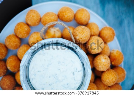 Finger food bites with potato and chess.  - stock photo