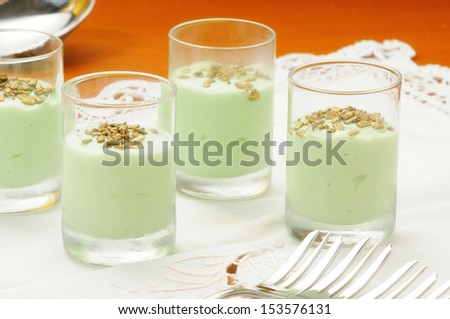 finger food dessert flavored with cheese and mint and chocolate chips gold - stock photo