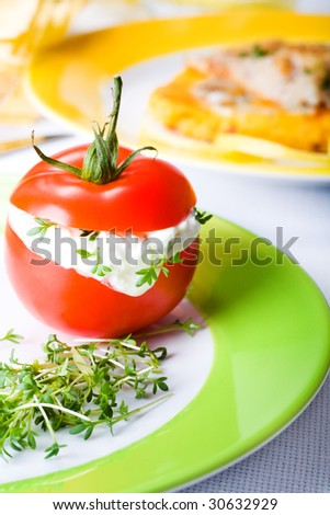 finger food tomato with cream cheese