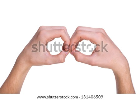 finger forming binoculars or a spy glass, isolated on white background - stock photo