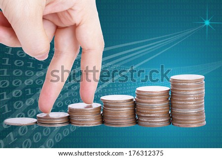 finger go up to the top of stack coin with concept growth finance include clipping path - stock photo