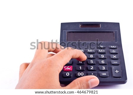 finger hand put old dust button calculator for calculating the numbers accounting accountancy business and work hard   on white background  isolated