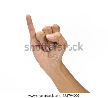 finger hand symbols isolated concept hook each other's little finger is mean to reconcile or promise or friendship on white background - stock photo