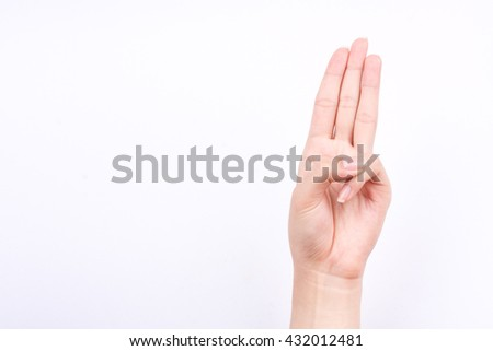finger hand symbols isolated concept three fingers pledge Scout's oath on white background  - stock photo