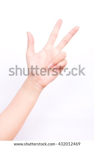 finger hand symbols isolated concept three fingers salute congratulation on white background  - stock photo