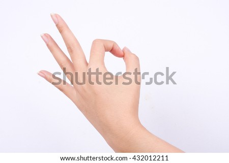 finger hand symbols isolated the concept hand gesturing sign ok okay agree on white background  - stock photo