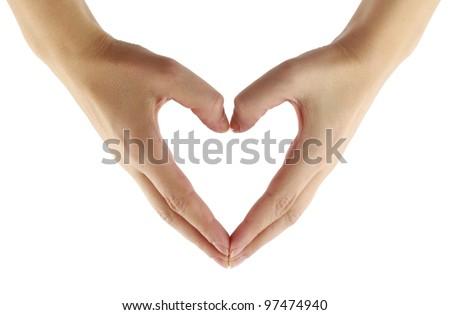 Finger heart shape - stock photo