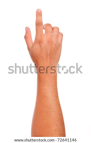 finger in position of pressing a button  over white background - stock photo
