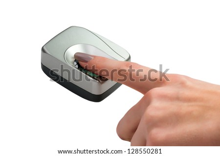 Finger on biometric scanner isolated on white - stock photo