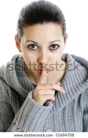Finger on lips - stock photo