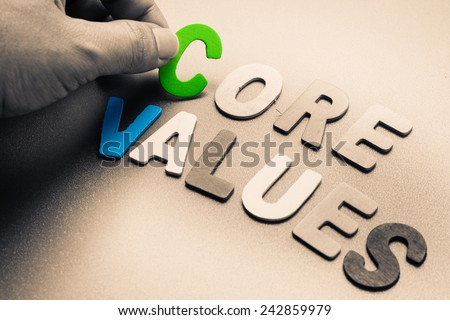 Finger pick a wood letters of Core Values word - stock photo