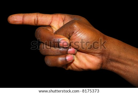 Finger pointig the way isolated on black background - stock photo