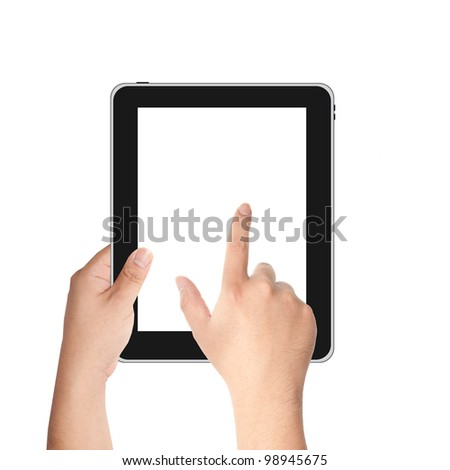 Finger pointing at tablet PC with white screen isolated on white background - stock photo
