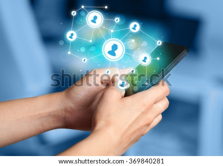 Finger pointing on smartphone with social network illustration - stock photo