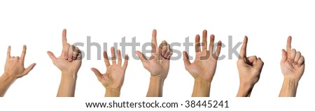 Finger pointing somewhere up. Isolated over white background