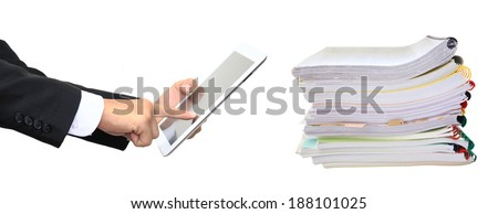 Finger pointing to tablet to work and Stack paper folders isolated on white background (Technology replacement concept) - stock photo