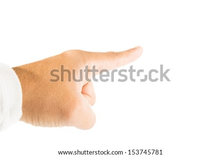 Finger pointing upward with white background - stock photo