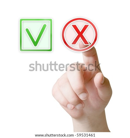 finger press on button - stock photo