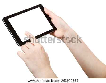 finger press tablet pc with cut out screen isolated on white background - stock photo
