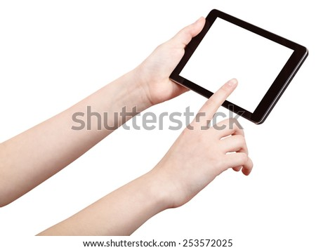 finger press touchpad with cut out screen isolated on white background - stock photo
