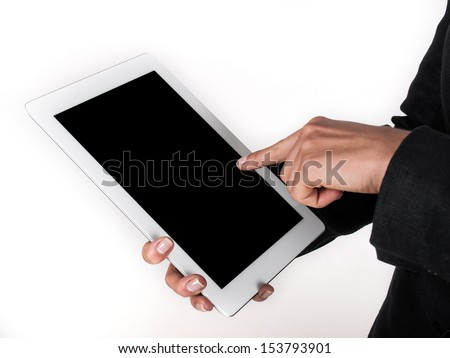 finger presses on the touch screen