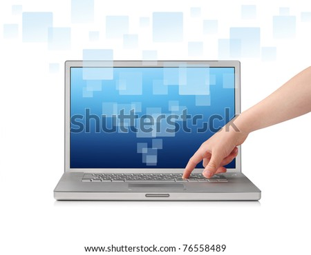 Finger pressing key on laptop, isolated on white - stock photo