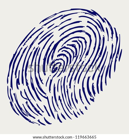 Finger print. Doodle style. Raster version - stock photo