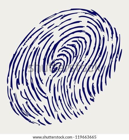 Finger print. Doodle style. Raster version - stock photo
