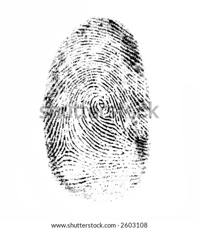 finger-print made with black ink on the white paper