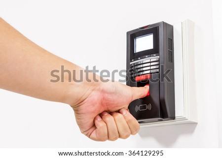 Finger print scan for unlock door security system  - stock photo