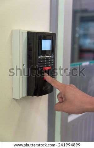 finger print scan machine used by scanning hand index finger to unlock the door which high security room