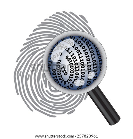 finger print with magnifying glass and digital code - stock photo
