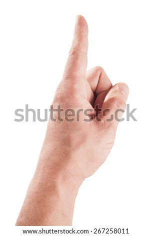 finger push gesture, press the button - stock photo