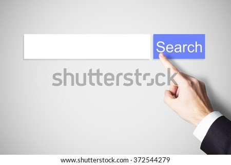 finger pushing blue web search button illustration - stock photo