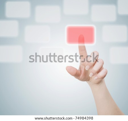 finger pushing button - stock photo