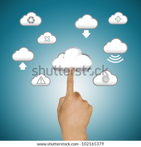 finger pushing cloud icons - stock photo
