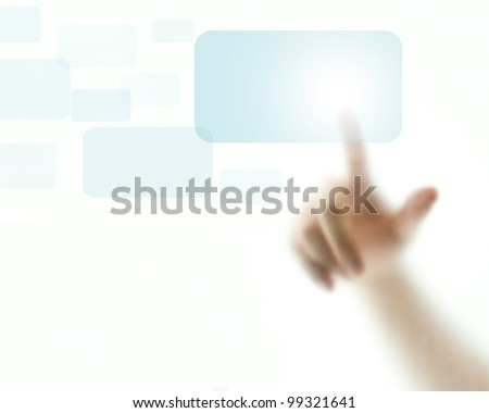 Finger pushing light blue button - stock photo