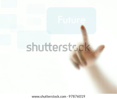 "Finger pushing light blue ""Future"" button - stock photo"
