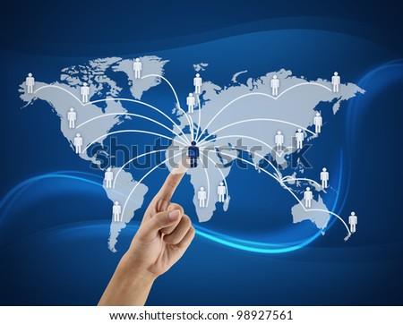 finger pushing world social - stock photo