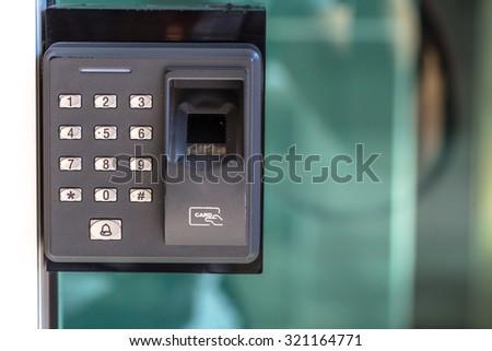 finger scan security door key lock - stock photo