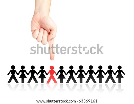 Finger selecting and showing a man from a crowd (selection, choosing, discrimination, stigmatization concept and more) - stock photo