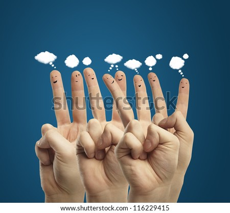 finger smileys, social media concept - stock photo