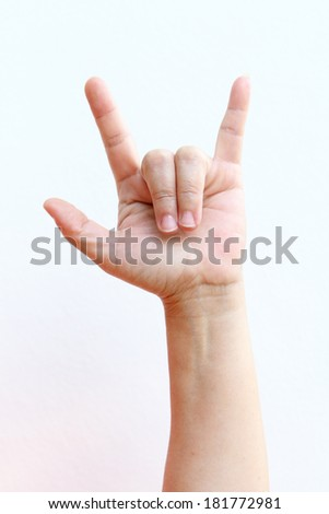 Finger Spelling the Alphabet in American Sign Language (ASL).  - stock photo