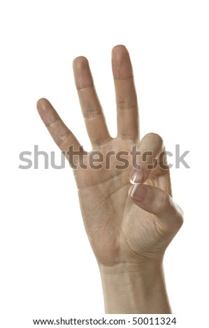 Finger Spelling the Alphabet in American Sign Language (ASL). The Letter F