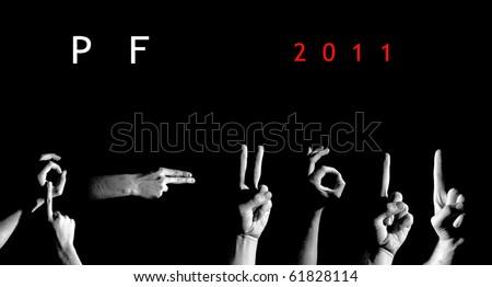 """Finger Spelling the """"PF 2011"""" - stock photo"""